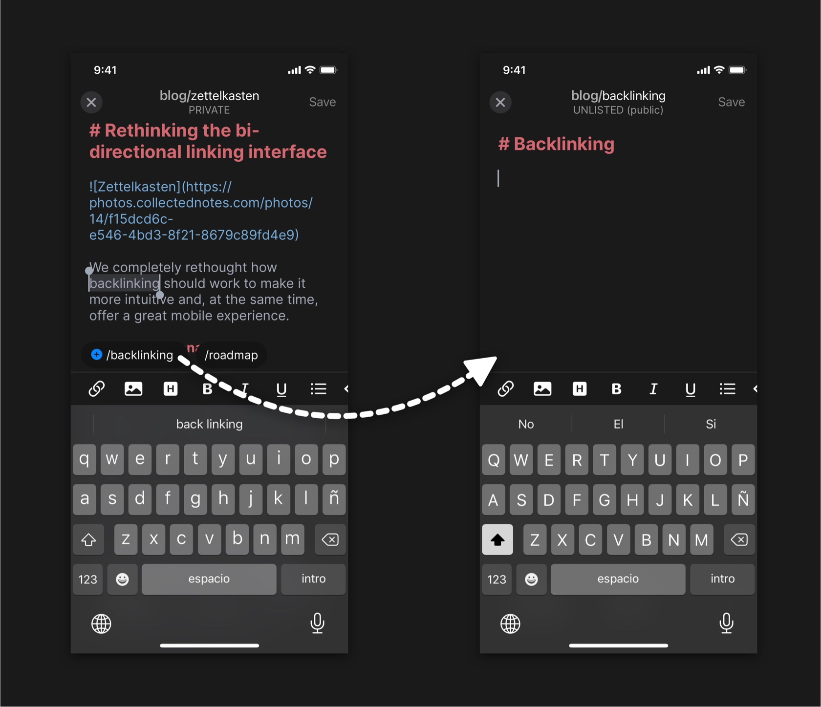 One tap to create notes