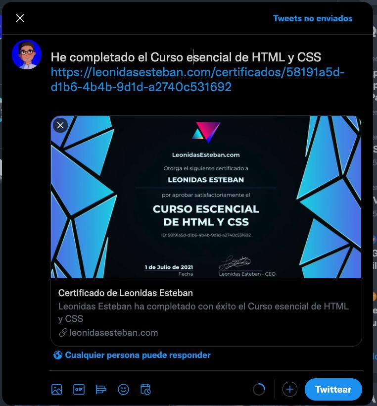 Comparte tu certificado en Twitter y Facebook