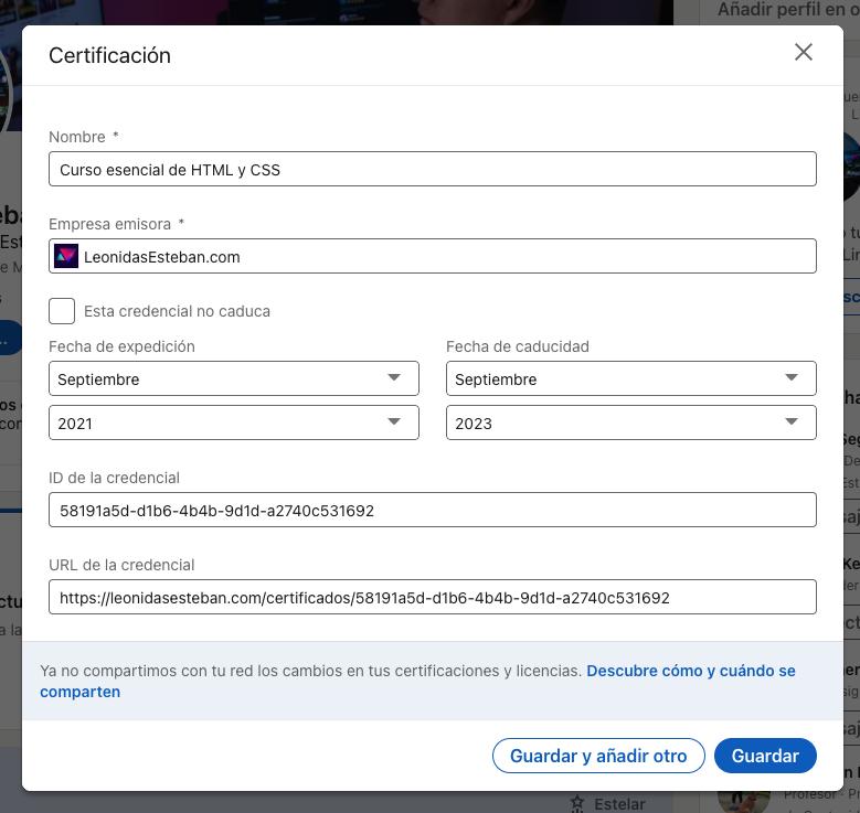 Agrega tu certificación a Linkedin